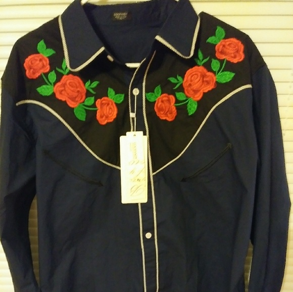 b51cf423d70  NWT Men s Coofandy Embroidered Western Shirt